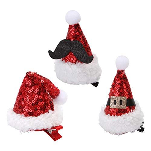 (Amosfun 3 Stücke Santa Hut Haarspangen Pailletten Haarspangen Haarnadeln mit Krokodilklemme Rot Party Haar Zubehör Kinder Erwachsene)