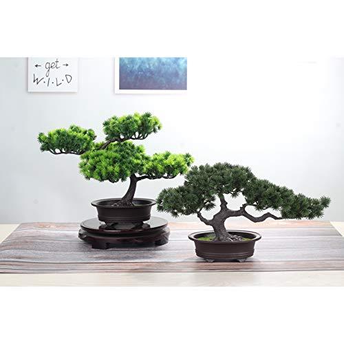 jianbo Kunstpflanze Pflanze,Japanischer Feng Shui Pinien ,Feng Shui Lucky Deko,Kunstbaum ,Höhe ca. 20 cm ,GrüN, #39 - 6