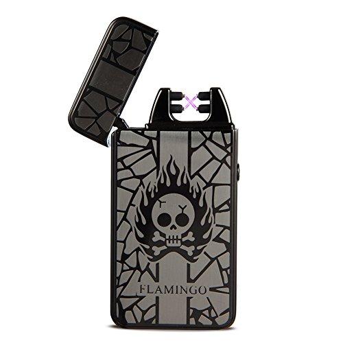 Feuerzeug USB Aufladbar Feuerzeug Lichtbogen Feuerzeug Elektronisches Feuerzeug Metall Plasma Elektro USB Feuerzeug Electric Lighter (Black)
