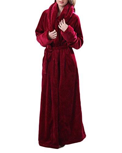 Frauen / Männer Unisex Herbst / Winter Flanell Cosy Warm Home Bademantel Bademantel Pyjamas Dicke Warme Hosen Bademantel Pyjamas Extra Lange,Red-L (Baumwolle-pyjama Blaue Ägyptische)