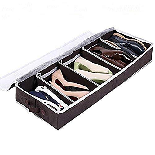Zapatero Organizador de Zapatos Caja Plegable de Almacenaje de Zapatos para Debajo de la Cama, Armario, Color Marrón