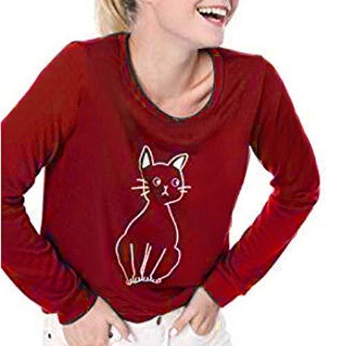 Dhyuen Damenmode T-Shirt Katze gedruckt Langarm Rundhals Bluse Freizeithemd Tops