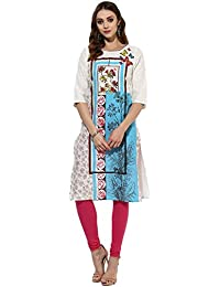 Amayra Casual 3/4 Sleeve Round Neck Multicolor Printed Casual Women's Kurti
