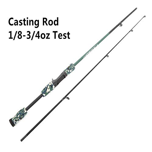 LABAICAI 1,8 Mt 1/8-3/4 Unze Test M Test Carbon Camouflage Köder Casting Spinning Angelrute (Color : Purple, Length : 1.8 m)