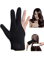 Hitzebeständige Handschuhe,Beautyshow Heat Resistant Gloves Hitzebeständige Handschuhe für Lockenstab Haarstyling Lockenstäbe Glätteisen Anti-heiße Isolierung Drei Finger Handschuh Schwarz