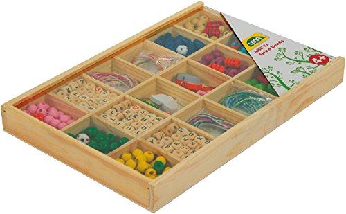 SIMM Spielwaren Lena 32024 - Kit de Bricolage holzfä Delp erlen Grand et holzfä delb uchstaben dans Un Coffret en Bois sur, 400 pièces