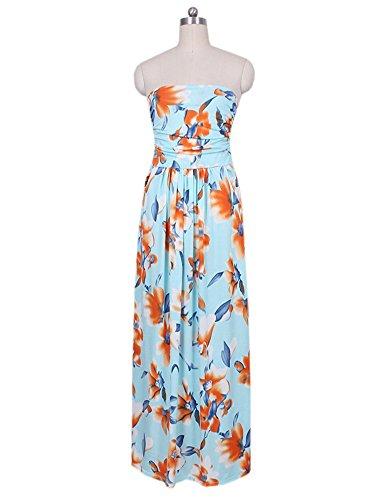88fad320df5b ... Sommerkleid Damen Partykleid Lang High Waist Schulterfrei Damen Kleider  Sleeveless Beach Kleid Elegant Hellblau ...