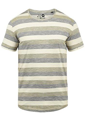 !Solid Thicco Herren T-Shirt Kurzarm Shirt Mit Streifen Und Rundhalsausschnitt 100% Baumwolle, Größe:XXL, Farbe:Aloe (3612) - Button-down Polo Shirt Gestreift