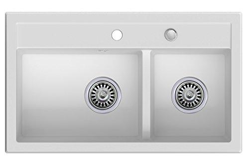 Granitspüle weiß, 2-Becken, Drehexcenter + Siphon, Spülbecken, Küchenspüle, Schrankbreite ab 80 cm