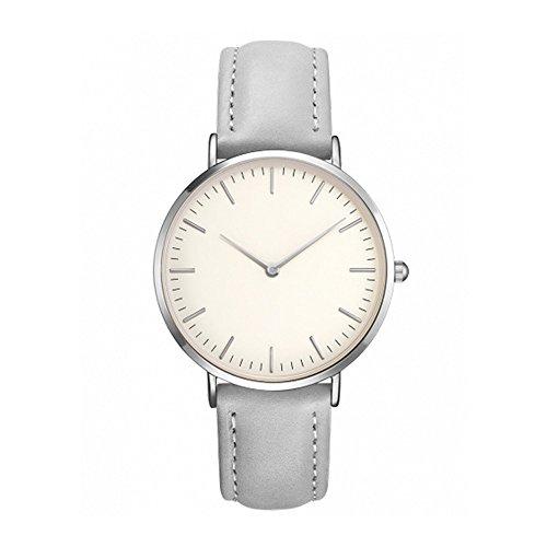 IG-Invictus Frauen Männer Casual Einfache Quarz Analoge Uhrenarmband Armbanduhren Einfache Uhr Rose Silber Shell Grau Gürtel