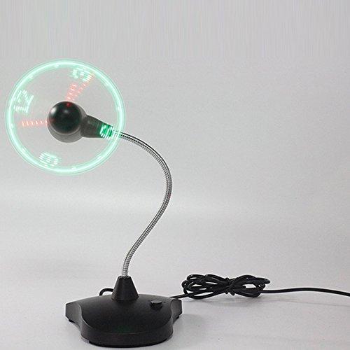 Asosmos Mini USB Fan Ventilator Schreibtisch Fan Tragbare Fan Flexible USB LED Uhr Lüfter Kühler mit Stand Zeitanzeige für Büro Schlafzimmer Wohnzimmer