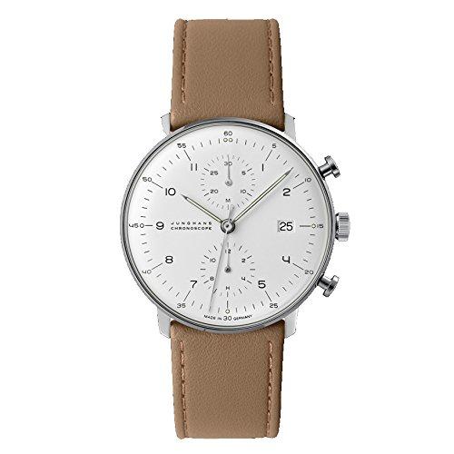 Junghans Max Bill Chronoscope 027/4502.00 40mm Automatic Stainless Steel Case Brown Calfskin Glass Men's Watch