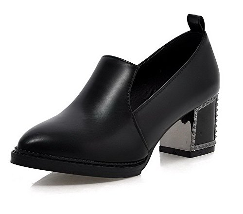 Talon Légeres AgooLar Tire Noir Femme PU à Chaussures Correct Rond Cuir xFSICzq