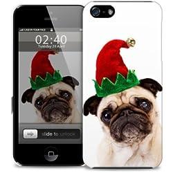 Xmas PUG Navidad divertido del iPhone 6 m‡s cubierta de pl‡stico caja del telŽfono protector (imagen muestra iPhone 5 ejemplo)