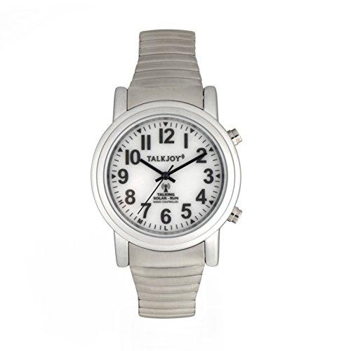 SOLAR Akku Sprechende Funkarmbanduhr Silber Funkuhr Uhr Seniorenuhr Armbanduhr