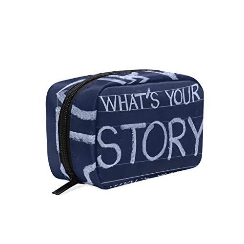 Kosmetiktasche mit Reißverschluss Kosmetiktasche Clutch Was ist Ihre Geschichte Reise Aufbewahrungstasche Tasche Platz für Frauen Dame