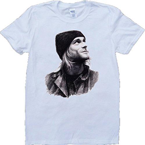 Kurt Cobain Weiß Benutzerdefinierten Gemacht T-Shirt Weiß