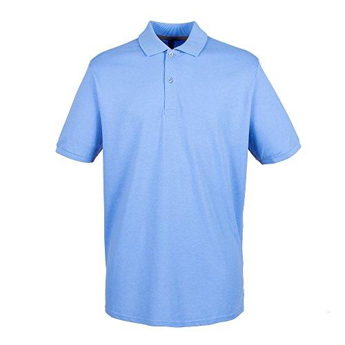 Henbury Herren Pique Polo-Shirt Mittelblau