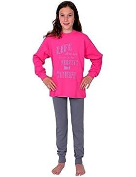 2 tlg. Kinder Schlafanzug Pyjama Kinderschlafanzug Life Farbe beere pink langarm Größen 116-176