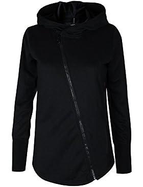 trueprodigy Casual Damen Marken Sweatjacke einfarbig Basic, Oberteil cool und stylisch mit Kapuze (Langarm & Slim...