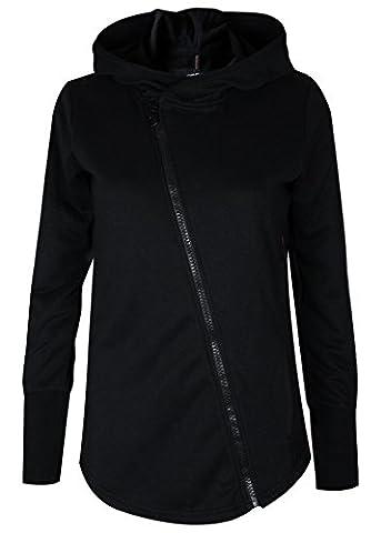trueprodigy Casual Damen Marken Sweatjacke einfarbig Basic, Oberteil cool und stylisch mit Kapuze (Langarm & Slim Fit), Hoodie für Frauen in Farbe: Schwarz