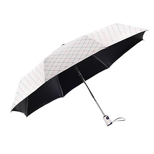 Taschenschirm Damen, Rainbrace Regenschirm Regen-und Sonnenschirm Kompakter Faltender Reise-Regenschirm Automatisch Faltung-Schirm mit Schwarzer Anti-UV-Beschichtung für Winddicht, Regenschutz& 99{f48525d42234048f6e8697d6b9840b1cc9f6a2138a3130b9f0ea082453e83347} UV-Schutz, Elegant Karo (Weiß)