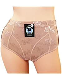 SodaCoda Foam Padded Lace Butt Pants with Tummy Control - Lowrise to Midrise Style - Buttocks Brief in Nude or Black (XS-L = UK 6-12)