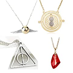 Idea Regalo - ALMA 4X COLLANE Harry Potter BOCCINO d'oro Quidditch - Triangolo I Doni della Morte Deathly Hallows - GIRATEMPO Color Oro TIMETURNER - Pietra FILOSOFALE PHILOSOPHER'S Stone