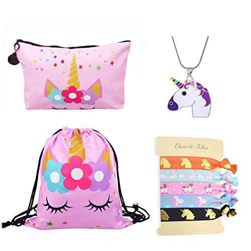 DRESHOW Einhorn Geschenke für Mädchen 4 Pack - Einhorn Kordelzug Rucksack/Make-up Tasche/Halskette Legierung Kette/Haargummis