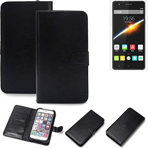 K-S-Trade Wallet Case Handyhülle für Cubot S500 Schutz Hülle Smartphone Flip Cover Flipstyle Tasche Schutzhülle Flipcover Slim Bumper schwarz, 1x