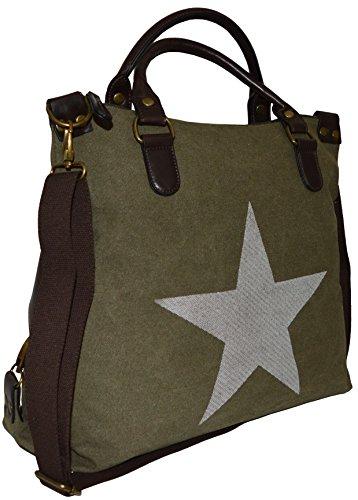 Schultertasche Shopper Canvas-Tasche Stern Stars Print Canvas PU-Leder Umhängetasche Handtasche Bag armygrün