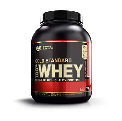Optimum Nutrition Gold Standard Whey Protein Pulver (mit Glutamin und Aminosäuren. Eiweisspulver von ON) Delicious Strawberry, 77 Portionen, 2,27kg