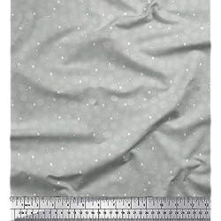 Soimoi Gris rayo de crepé Tela asterisco y lunares puntos tela estampada de 1 metro 46 Pulgadas de ancho
