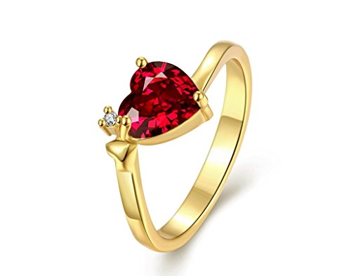 Lady touch 'Queen Heart' Red Austrian Crystal Ring For Women