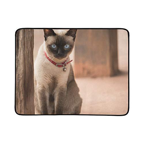 WYYWCY Nette Blaue Augen siamesische Katze Muster tragbare und Faltbare Deckenmatte 60x78 Zoll handliche Matte für Camping Picknick Strand Indoor Outdoor-Reise -