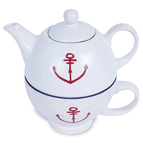 Teekännchen mit Pott / Serie Anker für den maritimen Tisch