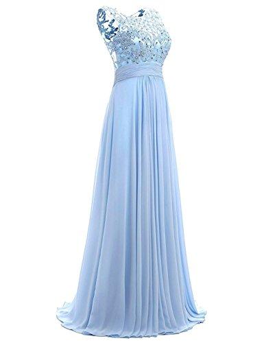 Carnivalprom Damen Chiffon Abendkleider Lange Elegant HochzeitsKleid Spitze Cocktailkleider Weiß