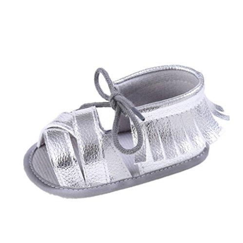 by Mädchen Sommer Quasten Sandalen Schuhe Prewalker für 3-6 6-12 12-18 Monat (12-18 M, Silber) (Baby Schuhe Mädchen Silber)