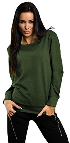 Capri Moda - Femme Pull Molletonné Sweat-shirt Manches Longues Col Rond - 8168 Kaki