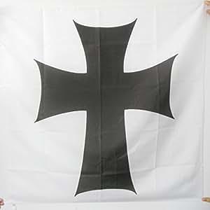 DRAPEAU ORDRE DE SAINTE-MARIE DES TEUTONIQUES 90x90cm - DRAPEAU CROIX ORDRE TEUTONIQUE 90 x 90 cm Fourreau pour hampe - AZ FLAG