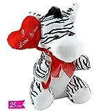 Peluche Zebra con Palloncino Cuore Ti Amo 25cm Pupazzo Zebra San Valentino I Love You