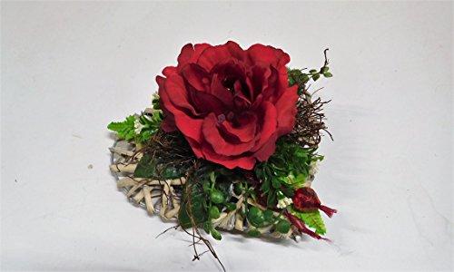 eck Rosenherz Tischgesteck Grabgesteck Herz Rosen rot (Rote Herz Kranz)