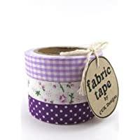 PURPLE & LILAC FLORAL & DOTS SET OF 3 ROLLS COTTON FABRIC STICKY ADHESIVE DECORATIVE WASHI TAPE by CUK Designs - TRIM CRAFT DIY WRAP