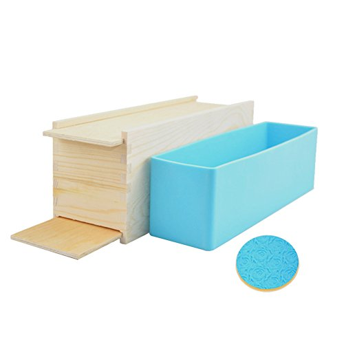 Soap Silicone Mold With Wood Box 1Kg Square Cavity Cold Process Soap Handmade Soap Diy Mold Rose Toast Dual Opening Wooden Box (Silicone Mold + Wooden Box)