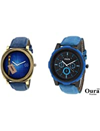 Oura Analog Casual Wear Round Multi-Color Dial Men's Watch Combo-Pack Of 2pc