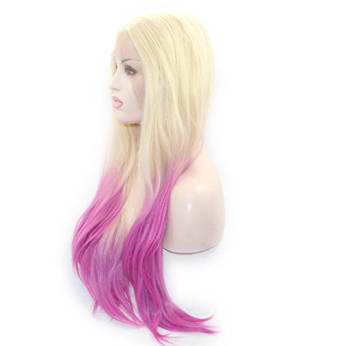 SHKY blond zu Rosa ombre Natural Straight synthetische Spitze Front Perücke zwei Tone ombre Haare Hitze resistente Faser Haare , 22 (Billig Kostüme Anime Uk)
