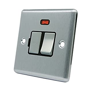 AET CSCSFNBS Satin Chrome Classical Spur w Black Insert Metal Rocker Switch-13 Amp Switched Fused Connection Unit with Neon Indicator