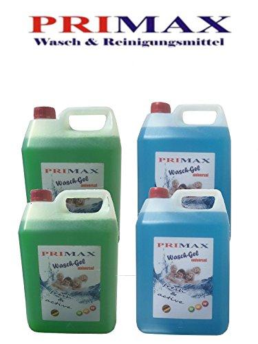 2 x 10 Ltr. Primax Flüssigwaschmittel grün + Meeresbrise blau in vier praktischen 5 Ltr. Kanistern + 1 Ausgießer