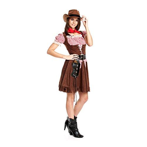 Kostümplanet® Cowgirl Kostüm + extra Halstuch Cowgirlkostüm Damen Cowboy Kostüm Größe 32/34 (Cowgirl Kostüm Für Erwachsene)