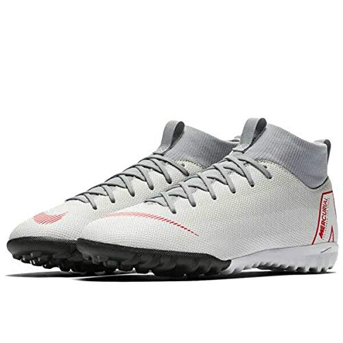 Nike Jr Superfly 6 Academy GS Tf, Scarpe da Calcetto Indoor Unisex-Bambini, Multicolore (Wolf Grey/Lt Crimson/Pure Platinum 060), 35 EU